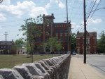 The university building and the old firehouse, which may still be in use.