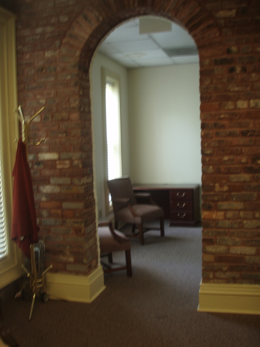 This is an archway in that same room that had the fireplace. I couldn't decide if this was an indication that even the interior walls at Rose Hill were brick or if there might be some reason that this room would have been brick.