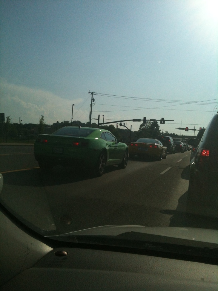 The Camaro was with me on 20th, and we met up with the Corvette on Charlotte and they lined up at the stoplight. So, I took their picture.