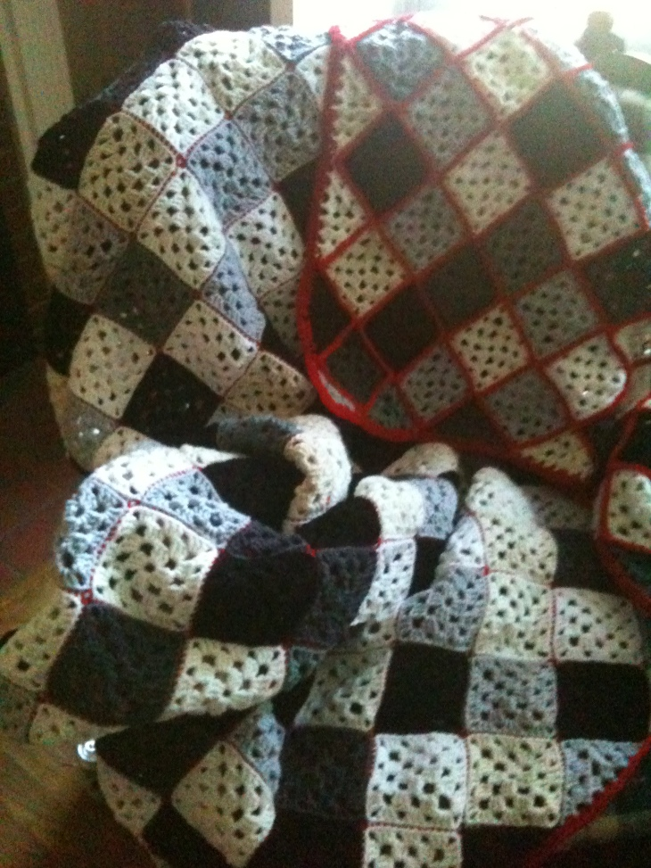 black and white afghan done