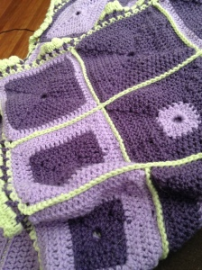 This was a small enough afghan that I could have sewn it together, but I love the way the seam looks on the back.