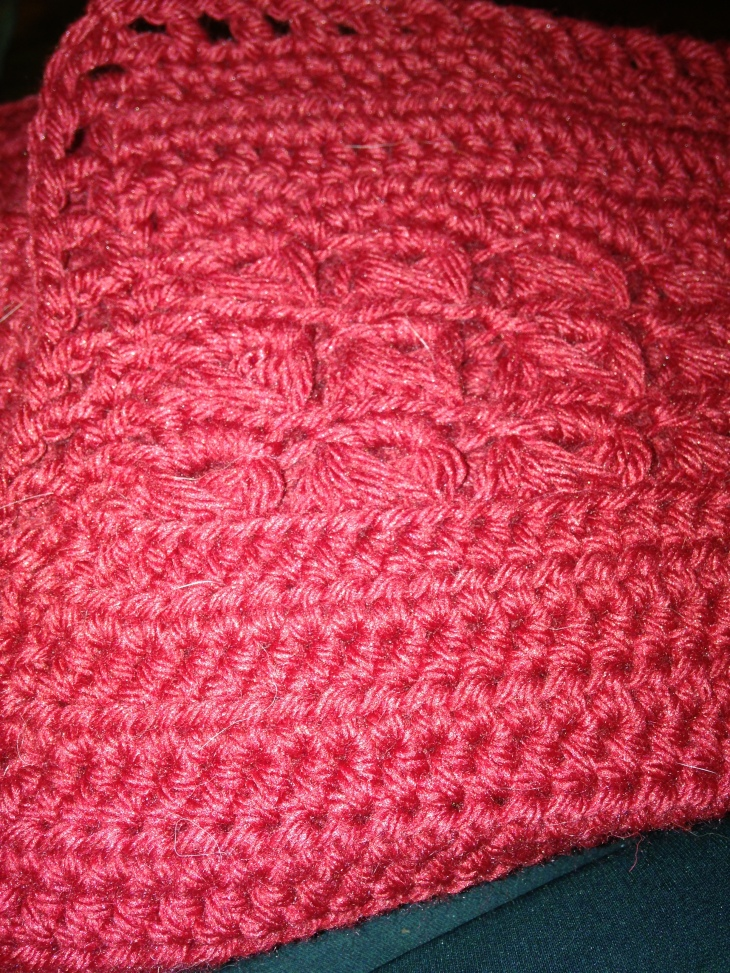 I took this picture so that you could see how I covered up my fuck-up with the lace part pulling way in compared to the half-double-crochet part. I didn't have enough yarn to do a frilly border, but what I did was to go around once with a single crochet, but when I hit the lace, I did a triple crochet, which built out that part. Then I did a simple triple-crochet/chain-one border on top of that. The sides are not quite square (though I may be able to pull them squarer when blocking) but the gap isn't glaringly obvious.