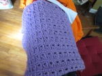 I couldn't remember if I showed you how my broomstick lace baby blanket turned out. But here it is.