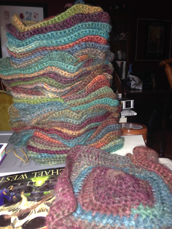 It is making a mighty big pile at this point, though. I need nine sets of seven. The lone square in front represents the first of the sixth set.